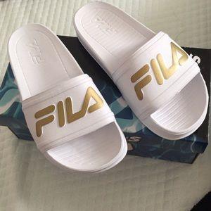 Fila Shoes | Fila White And Gold Slides